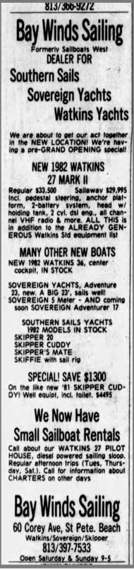 Bay Winds Sailing Ad